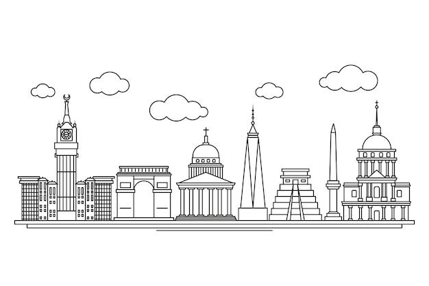 Ориентиры skyline рисованной дизайн