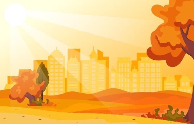 Красивый городской парк осень-осень со зданием skyline иллюстрация