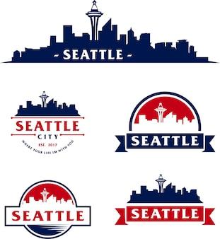 Сиэтл города skyline линии искусства векторной иллюстрации