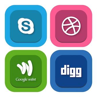 Skype dribble logo di google wallet e digg social