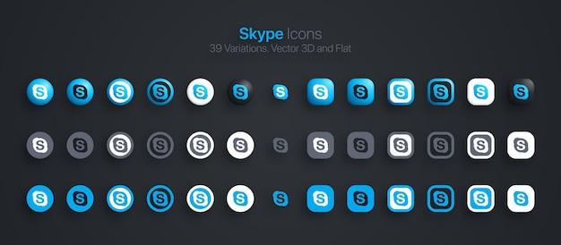 Skype 아이콘은 현대적인 3d 및 평면을 다양한 변형으로 설정합니다.