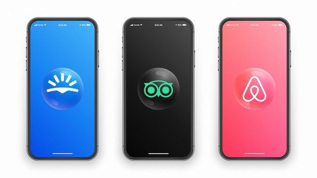 Iphoneスクリーンのskyscanner tripadvisor airbnbロゴ