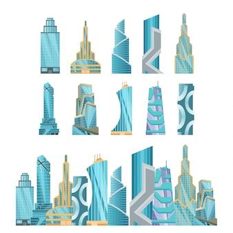 超高層ビル。近代的な建物のフラットオフィスシティアパート、住宅住宅ブロック、エクステリアビジネスタウン漫画。ダウンタウンの未来的な建物のコレクション