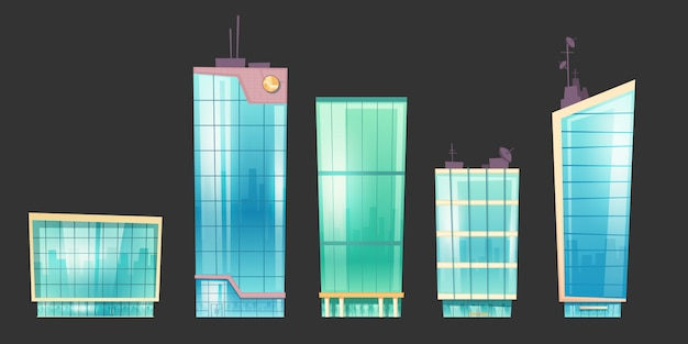 超高層ビルのモダンな家建築セット