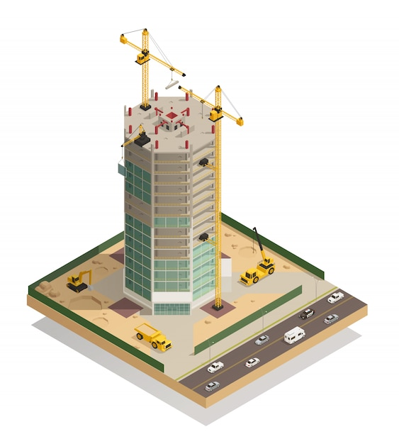 Skyscraper construction isometric composition