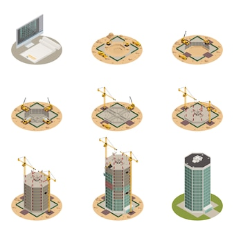 Skyscraper construction isometric set