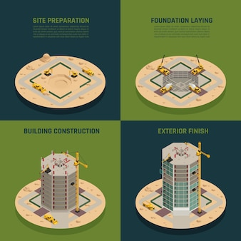 Skyscraper construction isometric
