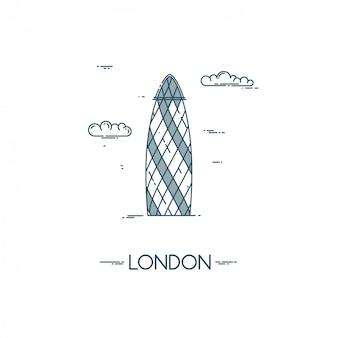 Skyscraper gherkin in city of london.