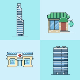 Grattacielo ufficio business center farmacia ospedale architettura edificio set. icone di stile piatto contorno corsa lineare. collezione di icone di colore.