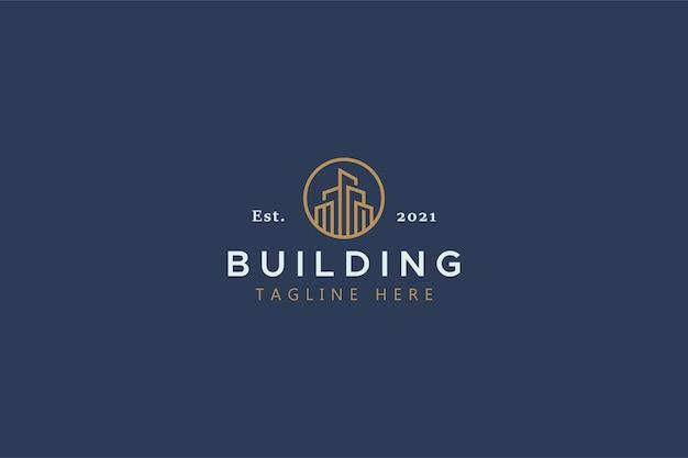 超高層ビルの塔の形のロゴ。