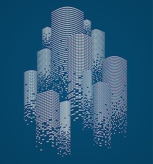 Концепция зданий небоскребов. силуэт современного делового города, каркасный линейный дизайн.