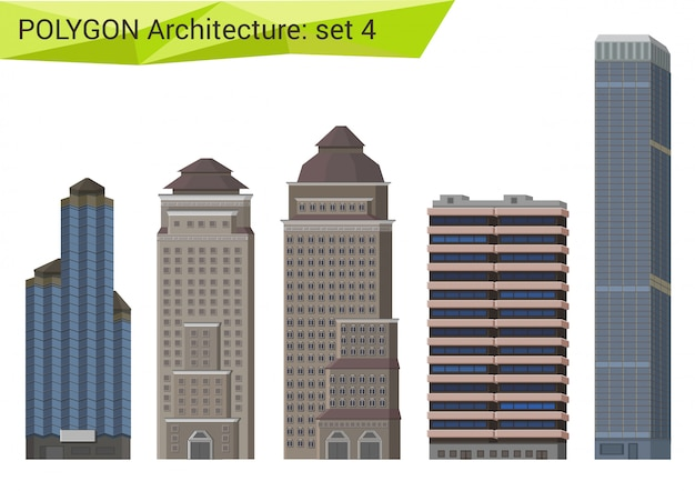 Skyscrapers, city houses and buildings polygonal style set.