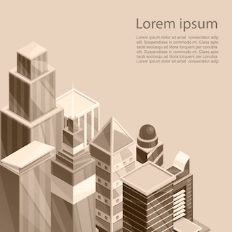 Skyscrapers city poster template. vector illustration of old sepia photographic style