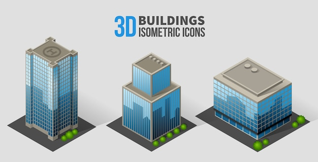 Skyscrapers with trees, isometric buildings of glass and concrete.
