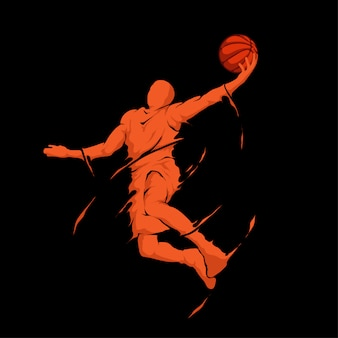 Slam dunk jump splash basketball player