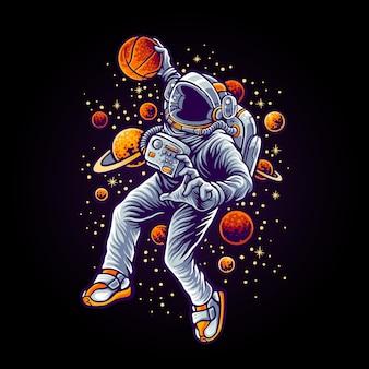 Slam dunk space иллюстрация