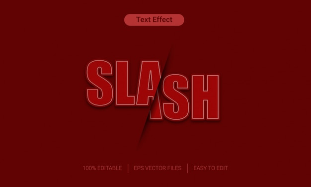 Slash red  sliced text effect