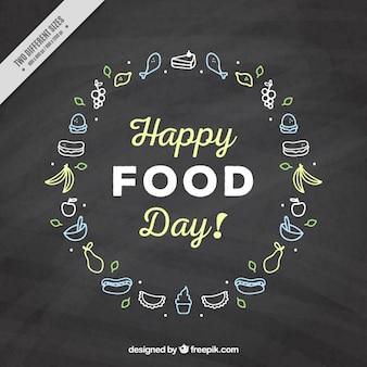 食品のスケッチとスレートの背景