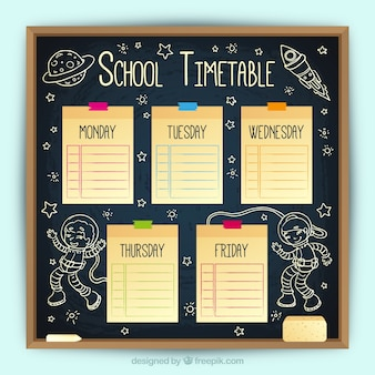 Slate school timetable and sticky notes