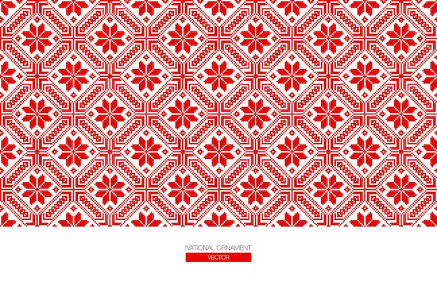 Slavic red and belarusian national ornament. embroidery.