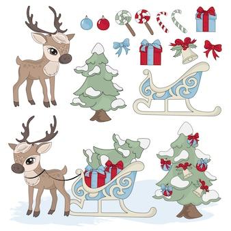 Sled deer new year vector illustration set for print