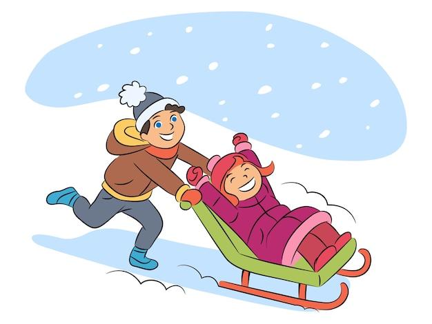そりで子供漫画イラスト、少年乗馬少女の笑顔。白い背景の上の幸せな子供たちの文字。雪の降る天気、冬のエンターテイメント、アクティブなレジャーのコンセプト