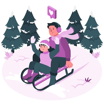 Sledding concept illustration