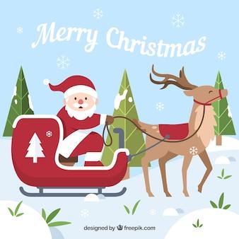 Рождественский дизайн с санта в slede