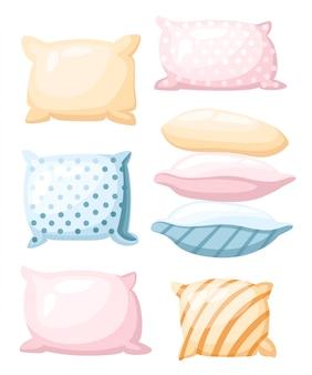 스트라이프 및 흰색 배경에 만화 스타일의 다른 각도 아이콘으로 점선 인쇄가있는 파스텔 색상의 야간 휴식 베개를위한 수면 및 휴식 기호 액세서리