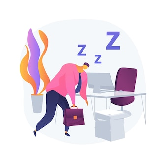 수면 부족 추상적 인 개념 벡터 일러스트 레이 션. 불면증 증상, 수면 상실, 박탈 문제, 정신 건강, 원인 및 치료, 임상 진단, 불면증 추상 은유.