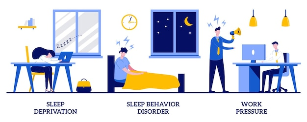 Sleep deprivation and behavior disorder, work pressure concept with tiny people. stress management vector illustration set. insomnia, clinical diagnostic, mental health, chronic anxiety metaphor.