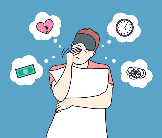 Sleep disorder and insomnia. young woman suffers from insomnia cause of mental problems, insomniac ideas.