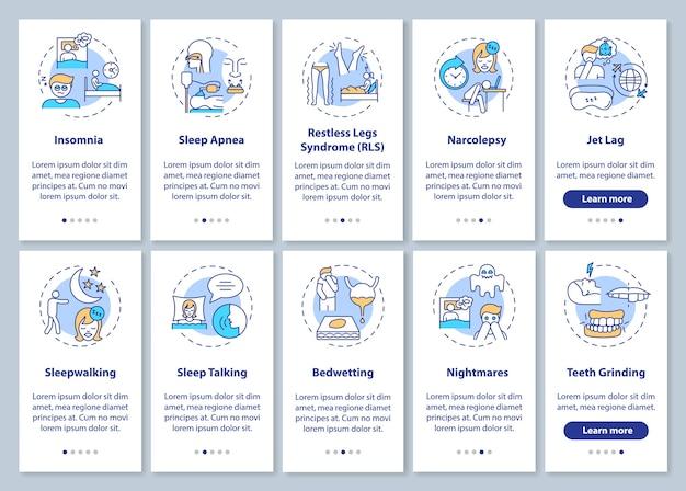 概念が設定されたモバイルアプリのページ画面にオンボーディングする睡眠障害