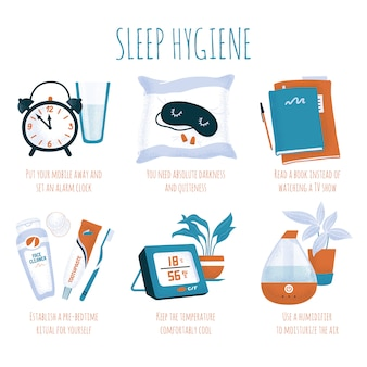 Sleep hygiene tips - alarm clock, glass of water, sleeping mask and ear plugs, book, evening toiletry, air humidifier and digital thermometer