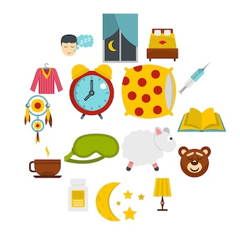 Sleep icons set in flat style
