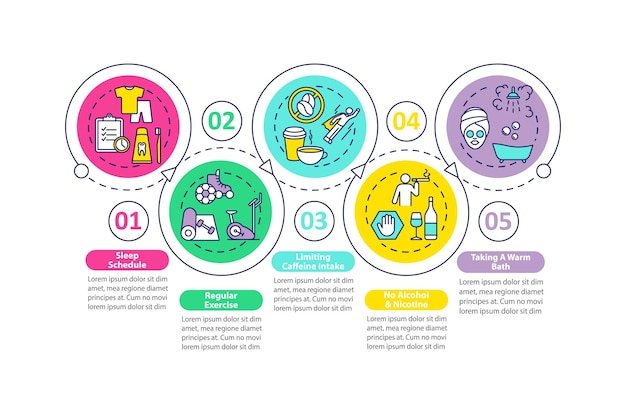 Инфографический шаблон улучшения сна. элементы презентации советов лучше сновидения.