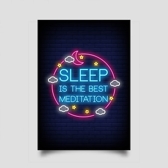Sleep is the best meditation for poster in neon style.