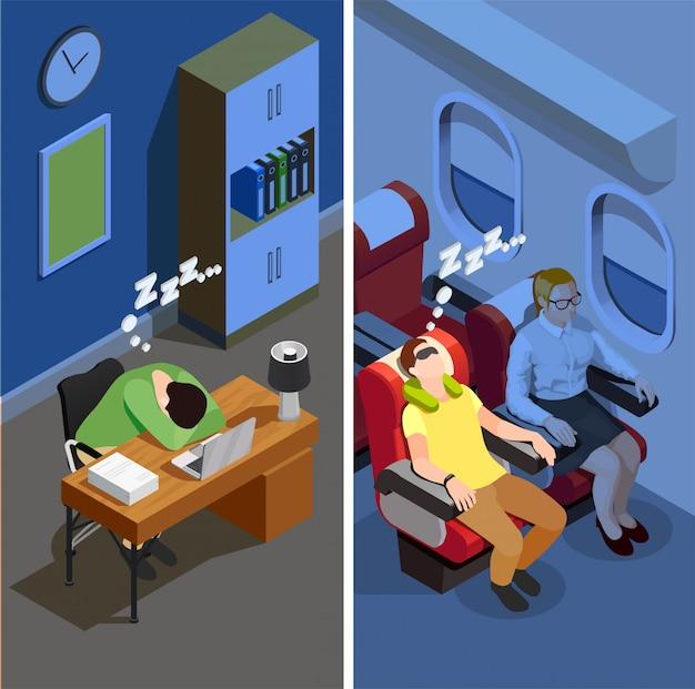 Sleep isometric vertical illustration