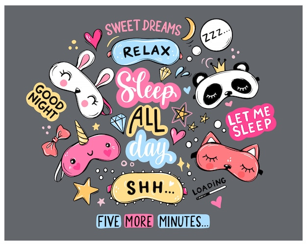 Sleep masks and quotes  set. lettering phrases good night, sweet dreams, sleep all day. blindfold classic and animal shaped - unicorn, cat, rabbit, panda. eyemasks cute stickers collection.