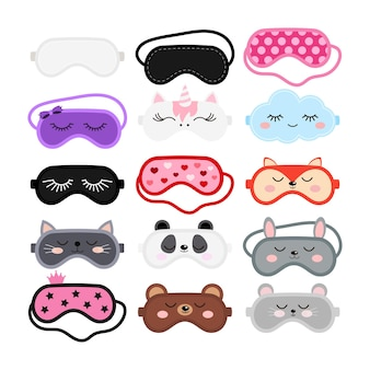 Sleep masks set eye protection wear accessory collection  cute animal faces pink black color