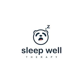 수면 치료 회사를 위한 수면 팬더 로고 디자인 템플릿입니다.