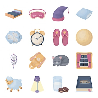 Sleep and rest  cartoon set icon. isolated cartoon set icon dream.  illustration sleep and rest  .