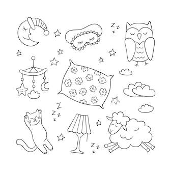 落書きスタイルで眠る。おやすみなさい-月、ランプ、眠っている猫、枕など。白い背景の上の手描きイラスト