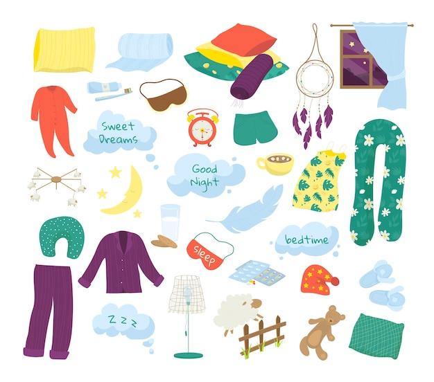 수면 시간, 취침 시간, 꿈의 아이콘 세트 흰색 삽화. 베개, 피자 마, 침대보, 린넨, 좋은 밤 거품, 꿈꾸는 요소 및 침대 기호. 잠자는 기호.
