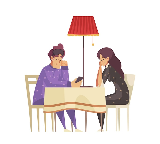 Composizione del tempo di sonno con due persone in pigiama che soffrono di insonnia sedute a tavola piatta