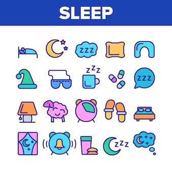 Sleep time elements icons set