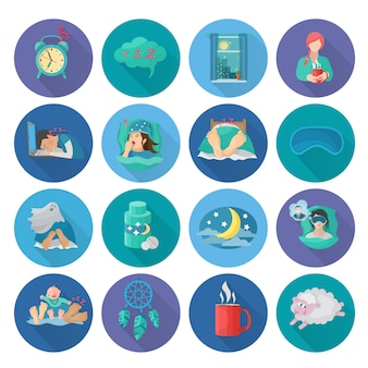 Sleep time flat long shadow icons set