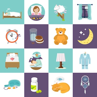 Sleep time icons flat set with bed alarm clock mask isolated vector illustration.