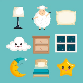 Sleep time icons flat set with