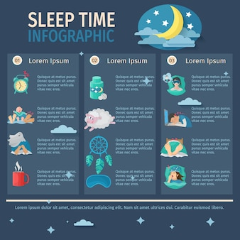 Sleep time infographic set